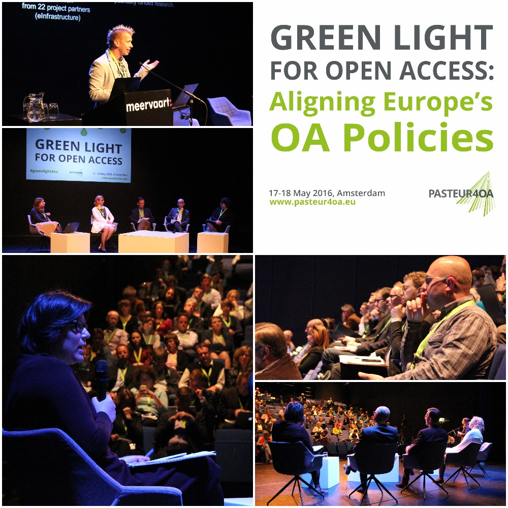 Some 150 delegates attended the PASTEUR4OA conference, Green Light for Open Access, in Amsterdam on 17-18 May 2016. Image by LIBER, CC BY.